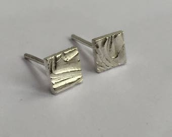 Silver studs, square studs, silver studs, textured studs, silver geometric earrings, silver squares