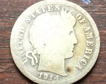 1914S  Silver Batber Dime