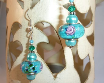 """""""pink turquoise"""" Silver earrings jewelry"""