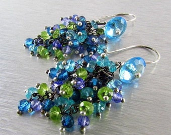 15% Off Apatite, Quartz and Peridot Sterling Silver Cluster Earrings - Waterfall