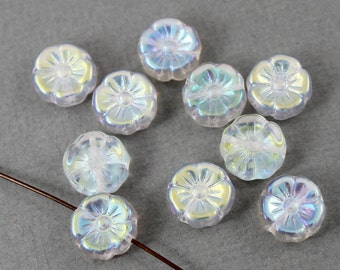 Crystal clear Czech glass flower beads with aurora borealis finish - 12mm - 10 pcs - FB243
