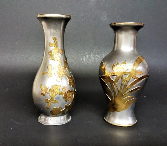 Pewter Brass Overlay Vases Made in Hong Kong Vintage Asian