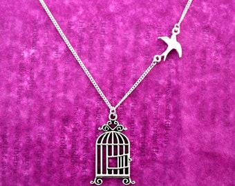 Bird And Birdcage Necklace, Bird Necklace, Birdcage Necklace, Bird Jewellery, Jane Eyre, Freedom Necklace, Sparrow, Swallow, Bronte, Book