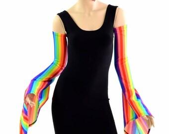 Rainbow Vertical Stripe Pixie Arm Warmer Sleeves Rave Festival Spandex - 154389
