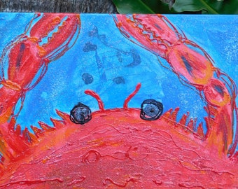 Happy Crab Dancing in Blue Waters