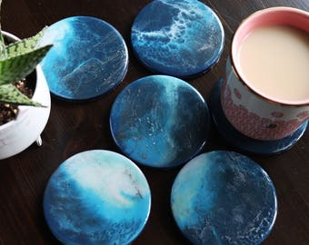 Resin Painting Coaster six Blue and Silver Coasters