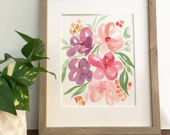 Pink & purple watercolor florals | Original watercolor painting | One of a kind | Only one available | 8x10
