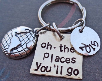 Oh The Places You'll Go Personalized Graduation Keychain - School Student Grad High School College Gift - K68