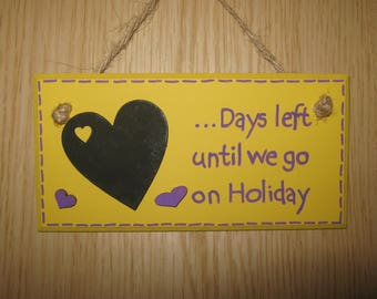 Holiday Chalkboard Countdown Plaque - Hanging plaque, Wooden chalkboard Sign, Gift for her, Friend Gift, Holiday Sign