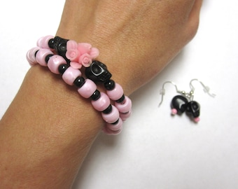 Pink Black Sugar Skull Bracelet And Earring Set Day of the Dead Jewelry