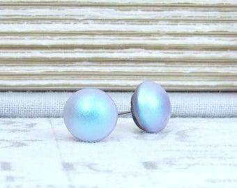 Blue Pearl Studs Iridescent Earrings Pearl Post Earrings Blue Pearl Earrings Surgical Steel Studs Blue Pearl Jewelry