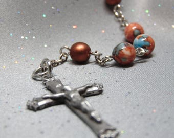 Coral and Copper Rosary