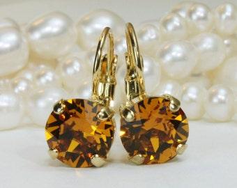 Topaz Earrings Yellow Topaz Swarovski Crystal Drop Crystal Amber Earrings Yellow Topaz Single Stone Gold Earrings Topaz,Topaz Wedding,GE2