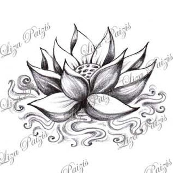 Lotus avec conception de tatouage de l 39 eau par liza paizis - Fleur tatouage dessin ...