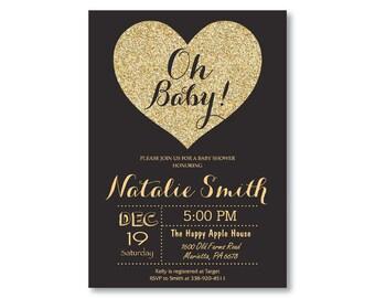 Black and Gold Baby Shower Invitation. Oh Baby. Gold Glitter. Valentine Baby Shower Invite. Heart Invitation. Boy or Girl. Printable Digital