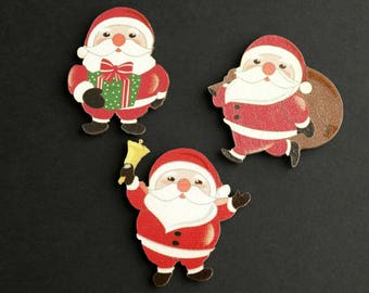 Holiday Scrapbooking Cut Outs. Set of Three. Flat Backs Cutouts. Christmas Scrapbook Decorations. Wood Cut Outs. Wood Embellishments.