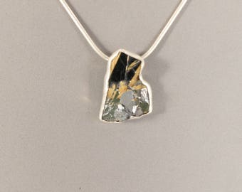Hematite Pendant, Hematite and Rutile Crystal Stone Pendant, Sterling Silver Necklace