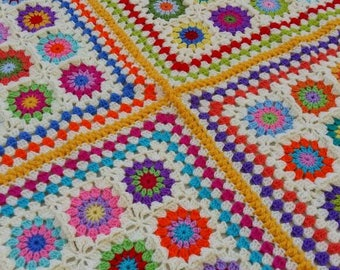 Granny square multicoloured crocheted afghan blanket
