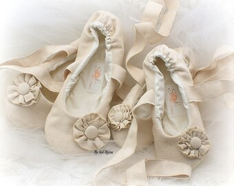 Beige Faux Suede Wedding Ballet Flats with Flowers, Bridal Ballet Slippers with Ties, Custom Flats