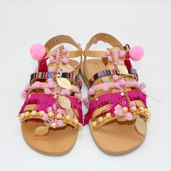 blue bohemian sandales sandals femme sandales gladiator pompom pompom sandals leden Blue pons sandalen sandals sandals pom greek ExYUA0nq0