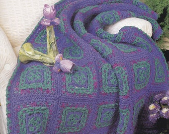 Purple Jewel, Annie's Attic Crochet Quilt & Afghan Pattern Club Leaflet QAC332-03