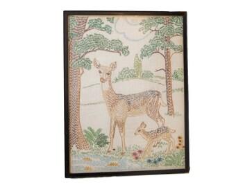 Vintage Embroidery Art of Bambi Deer