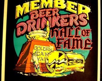 Vintage 1976~BEER DRINKERS Hall of Fame~BLACKLIGHT Poster