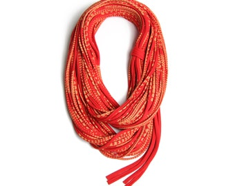 Red Scarf, Infinity Scarf, Travel Gift, Statement Necklace, Statement Jewelry, Scarves for Women, Scarf Women, Travel Accessories, Festival