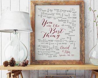 You Are The Best Thing//Ray LaMontagne//1st Anniversary//Wedding song lyrics//Wedding song print//Anniversary Gift//Wedding Gift