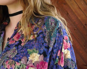 Woven Floral Printed Oversized Blouse Shirt - Vintage 90s - L/XL