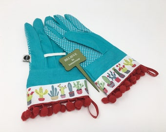 Designer Garden Gloves. Cute Cactus Gardening Gloves. Red Pom Poms. Outdoor Work Gloves for Women. Mother's Day Gift. Gardener Present.