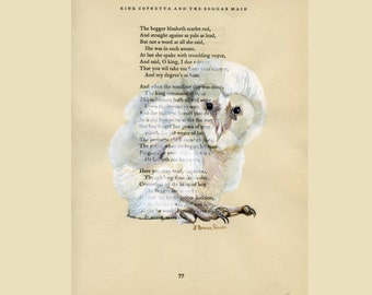 Baby, Barn Owl III - Original Watercolor Painting - on Antique Book page - 8x11inches