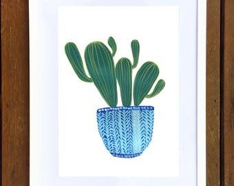 Blue Potted Cactus Art Print