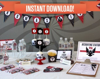 Secret Agent Birthday Party / Spy Birthday Party Printable Collection & Invitation - Editable PDF file - Print at home