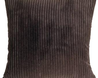 Wide Wale Corduroy 22x22 Dark Brown Throw Pillow