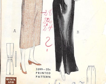 BUTTERICK 5399 Waist 26 Four-Piece Skirt Straight Slim Midi Maxi Slit Classic Quick & Easy Vintage 1950's Pattern