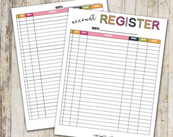 Account Register | Check Register | Checking | Savings | Instant Download | Printable