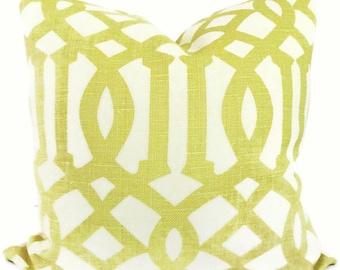 Shumacher Decorative pillow cover Citron Imperial Trellis Decorative Pillow Covers 18x18, 20x20  or 22x22, Eurosham, Lumbar, throw pillow