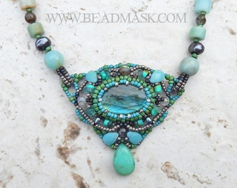 Labradorite Beadwoven Necklace in Seafoam and Sage, with Amazonite, Andean Opal, Apatite, Turquoise, Freshwater Pearls and Grey Moonstone