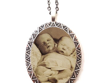 Siamese Twin Babies Necklace Pendant Silver Tone - Conjoined Goth Sideshow Dark Art