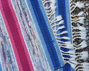 Nordic Handwoven rag rug. Carpet, traditional nordic folk craft. Bluish.