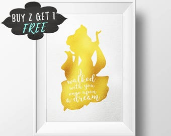 Sleeping Beauty Art Print Quote, Once Upon A Dream Gold Foil Prints Art Disney Aurora Princess, Gallery Wall Foiled Print Printable Wall Art