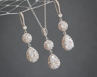 Crystal Bridal Jewelry SET, Wedding Jewelry Set, Cubic Zirconia Dangle Earrings, Pendant Necklace, Bridal Wedding Jewelry Set, CALLISTA