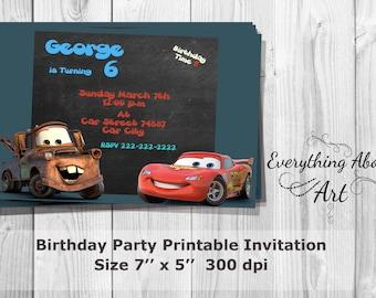 Cars Invitation, Cars Birthday Invitation, Lightning McQueen , Tow Mater, Birthday Invites, Printable Invitation, PERSONALIZED Party Invites