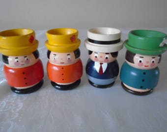 wooden egg cups painted family x 4
