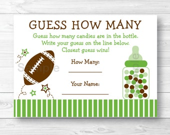Cute Football Guess How Many Game / Football Baby Shower / Candy Guessing Game / Baby Boy Shower / Printable INSTANT DOWNLOAD A353