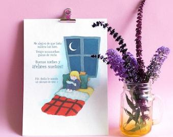 Personalized children's illustration - good night! > >