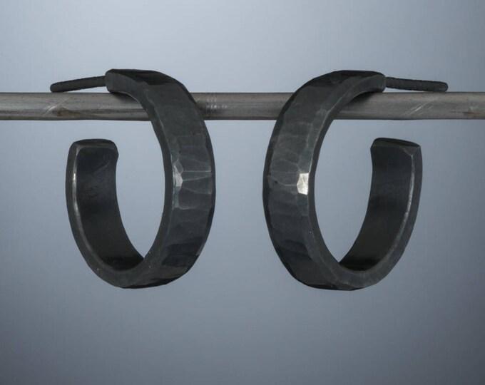 Sterling silver hoop earrings, 18 x 4mm, oxidized black