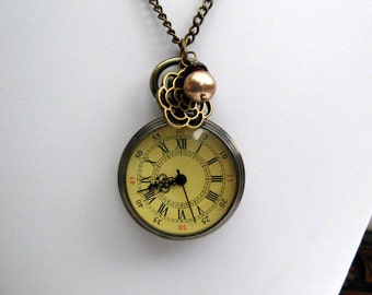 Victorian Watch Necklace - Bronze watch, Glass crystal, With or without: Bronze Flower and Swarvoski Pearl Charm