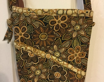 Quilted Brown Floral Crossbody Purse, Brown Purse, Brown Purse for Fall, Fall Travel Purse, Brown Floral Bag, October Purse, Fall Purse